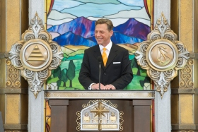 Mr. David Miscavige, Chairman of the Board Religious Technology Center and ecclesiastical leader of the Scientology religion, dedicated Orange County's new Church of Scientology.